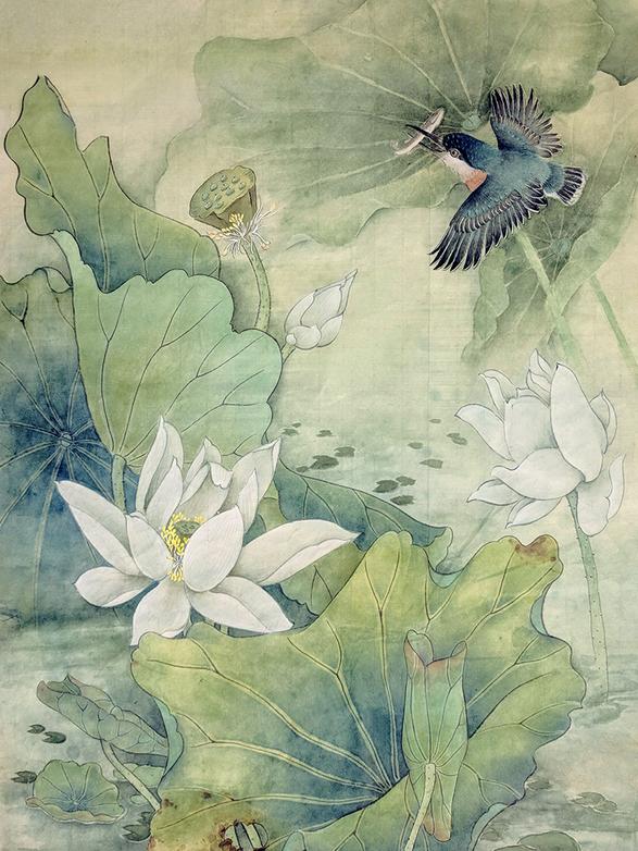 Kingfisher among Lotuses