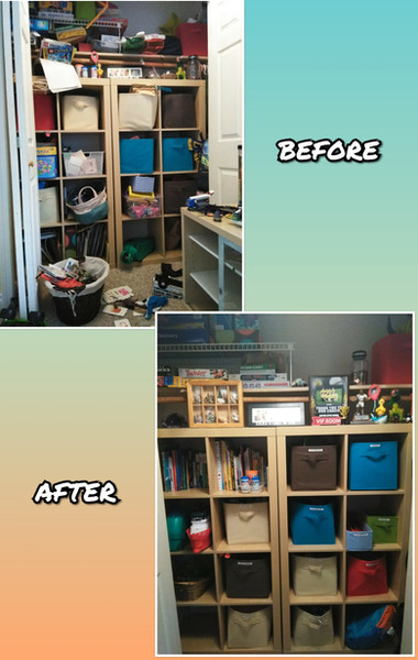 De-cluttered kids rooms and closets