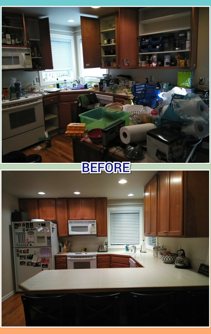 A freshly organized kitchen and two kids rooms