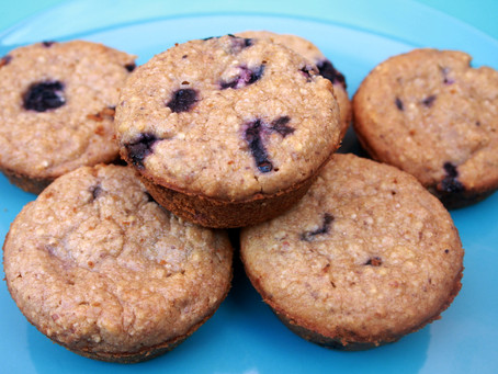 Blueberry Spelt Quinoa Muffins, Vegan, Wheat-free