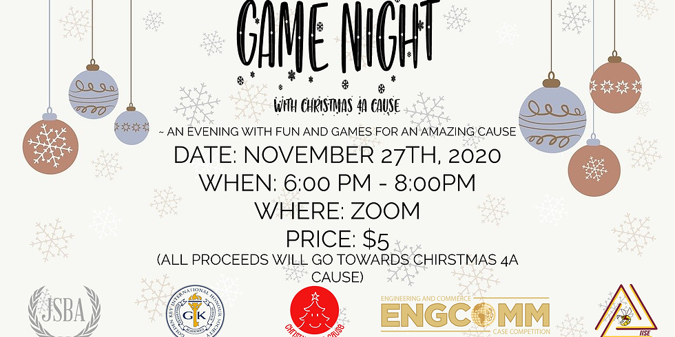 Game Night Raising Funds for Christmas 4 A Cause