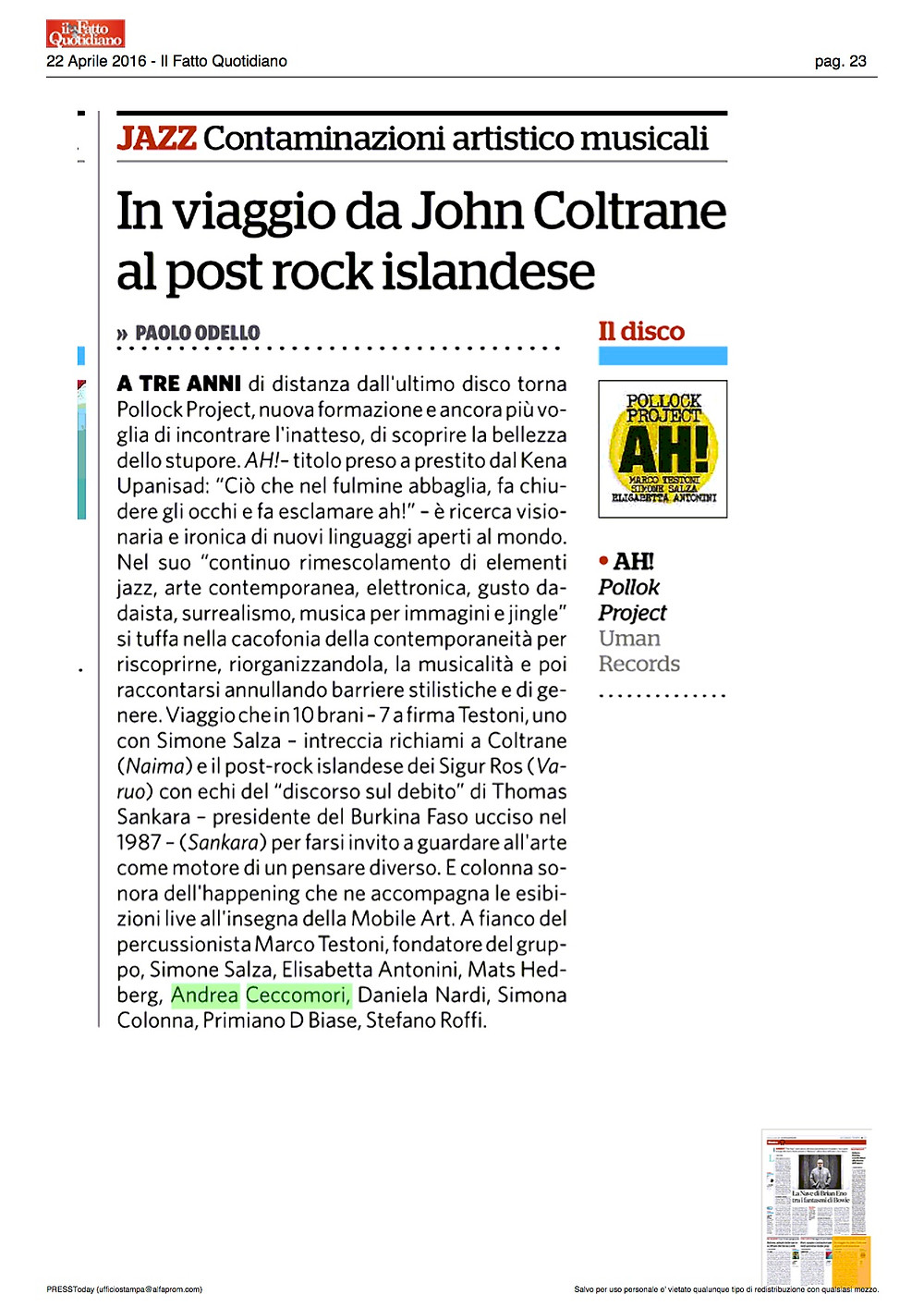 IL FATTO - recensione AH! di Paolo Odello