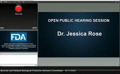Dr. Jessica Rose: Serious concerns expressed during FDA Open Public Forum (September 17)