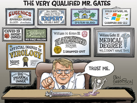May 12, 2021 - Cartoon - Bill Gates 'Wall of Shame' & 'the wall that says it all'