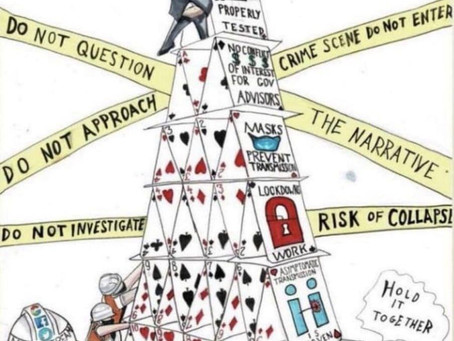 The Covid 'House of Cards' in the perfect cartoon image