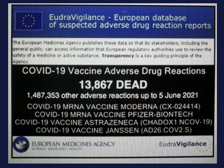 EMA reports over 13,000 Europeans killed by the Covid Vaccine & over 1.4 million adverse reactions