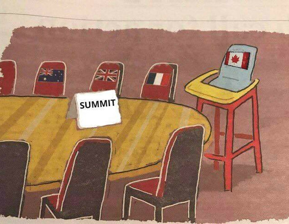 Justin Trudeau earns the highchair at the G7 Summit Table