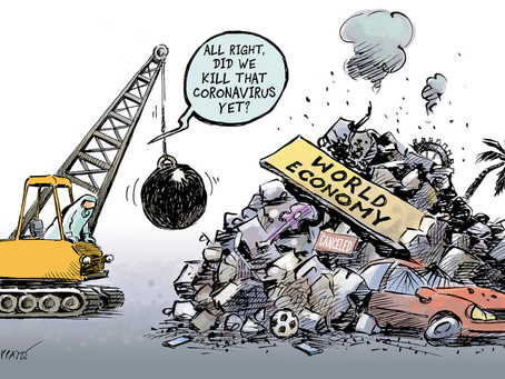 April 13, 2021 - Cartoon - Covid Health Care Policy vs the World Economy