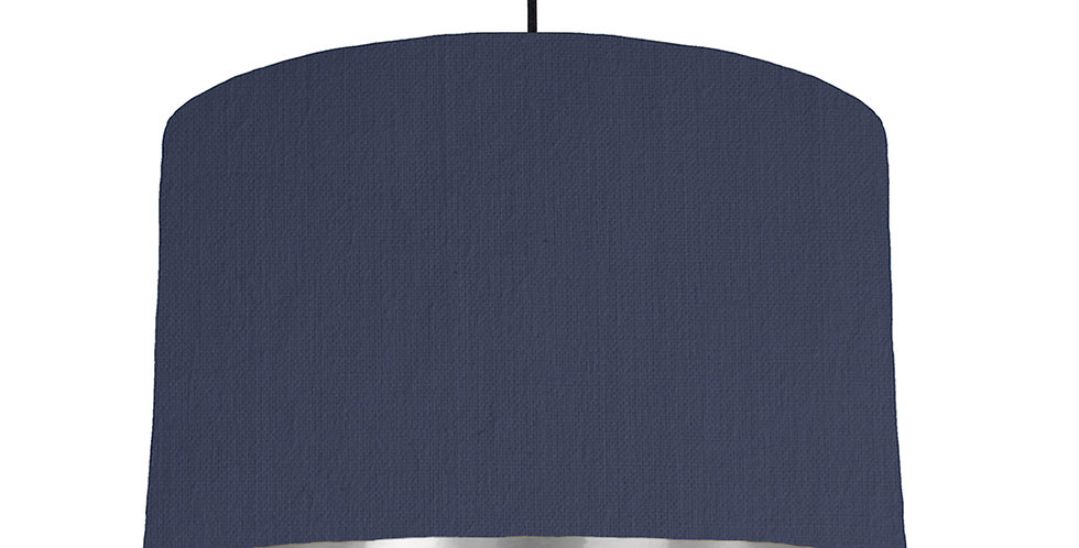 Navy & Silver Mirrored Lampshade - 40cm Wide
