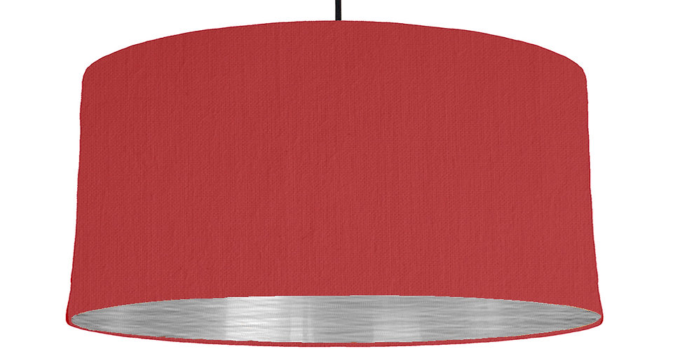 Red & Brushed Silver Lampshade - 60cm Wide