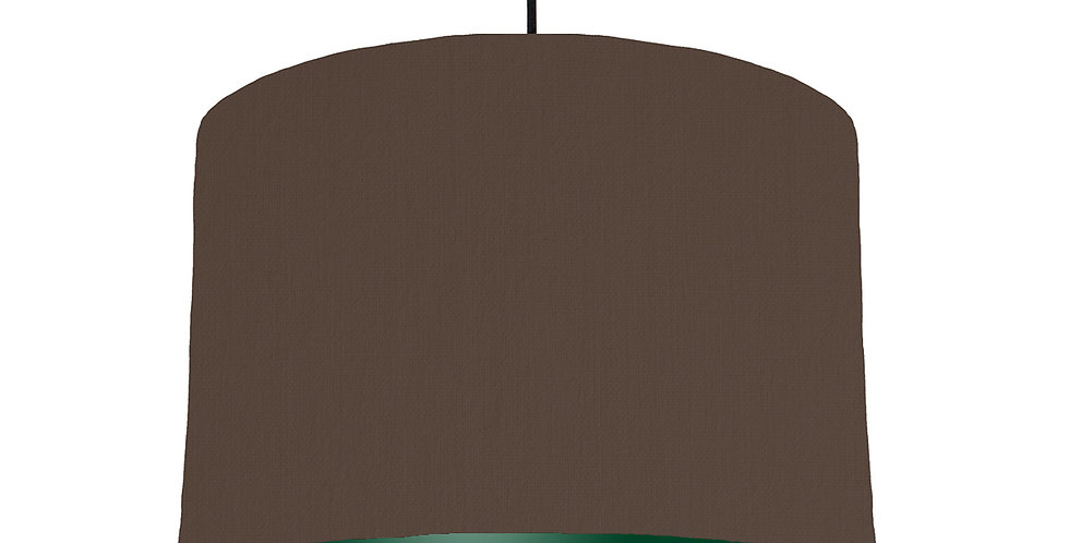 Brown & Forest Green Lampshade - 30cm Wide