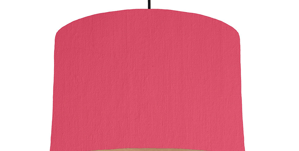 Cerise & Wood Lined Lampshade - 30cm Wide