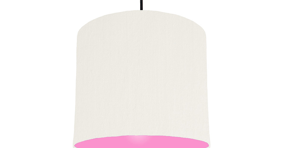 White & Pink Lampshade - 25cm Wide