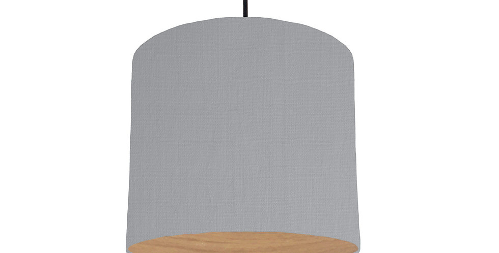 Light Grey & Wood Lined Lampshade - 25cm Wide