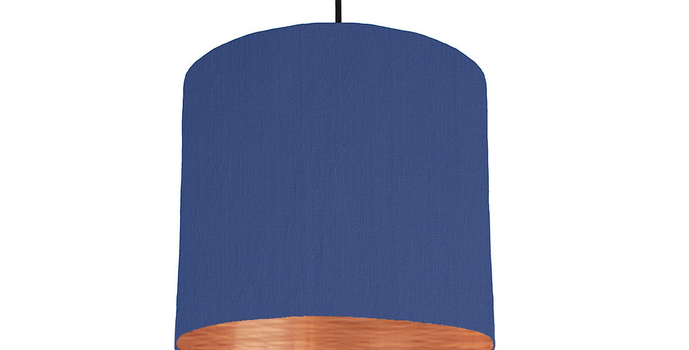 Royal Blue & Brushed Copper Lampshade - 25cm Wide