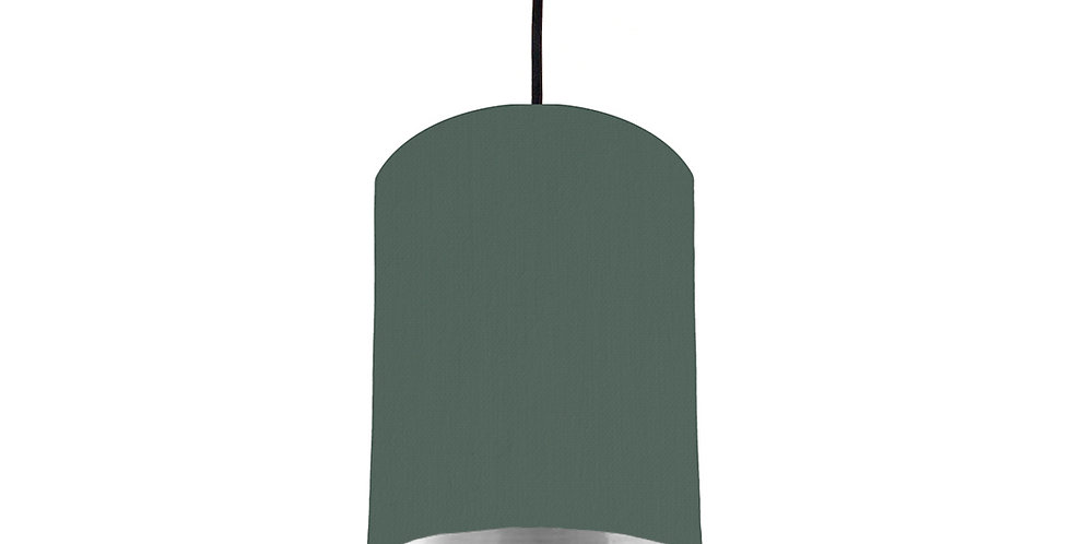 Bottle Green & Silver Mirrored Lampshade - 15cm Wide