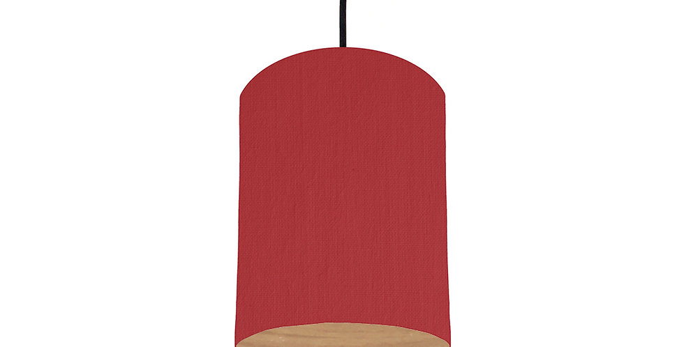 Red & Wood Lined Lampshade - 15cm Wide