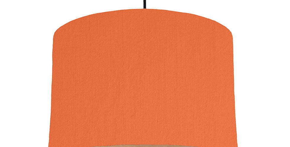 Orange & Wood Lined Lampshade - 30cm Wide