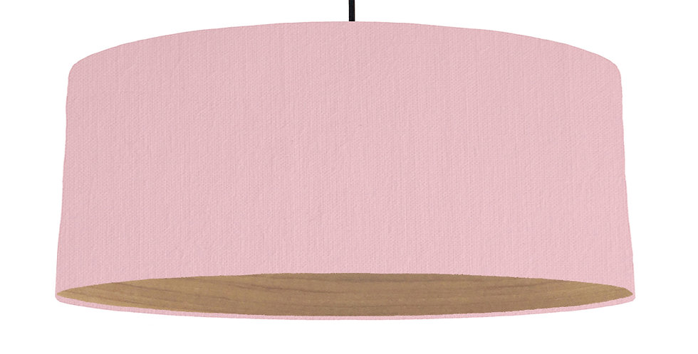 Pink & Wooden Lined Lampshade - 70cm Wide