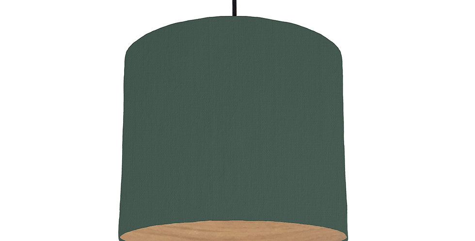 Bottle Green & Wood Lined Lampshade - 25cm Wide