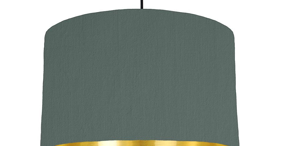 Bottle Green & Gold Mirrored Lampshade - 40cm Wide
