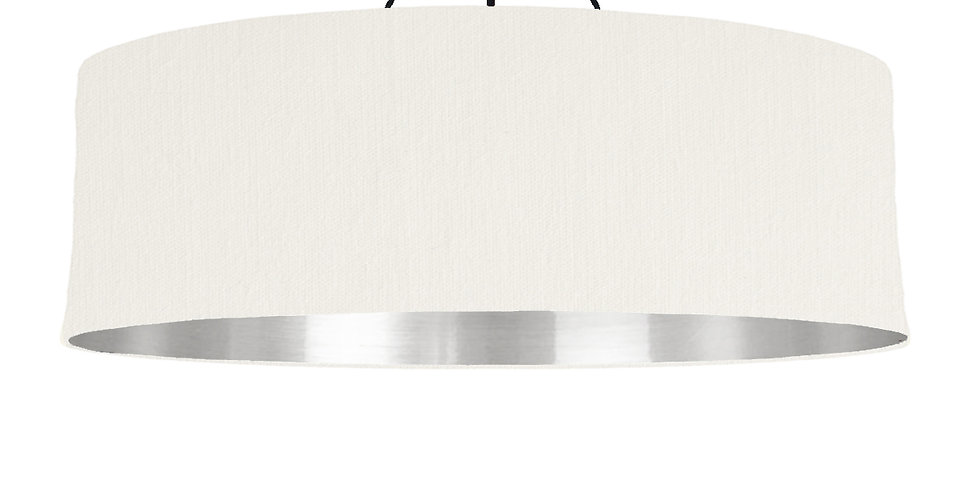 White & Silver Mirrored Lampshade - 100cm Wide