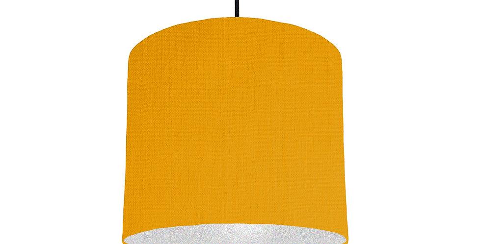Mustard & Silver Matt Lampshade - 25cm Wide