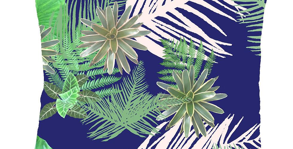 Digital Tropical Plant Velvet Cushion - Blue