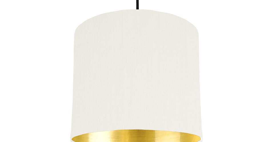 White & Gold Mirrored Lampshade - 25cm Wide