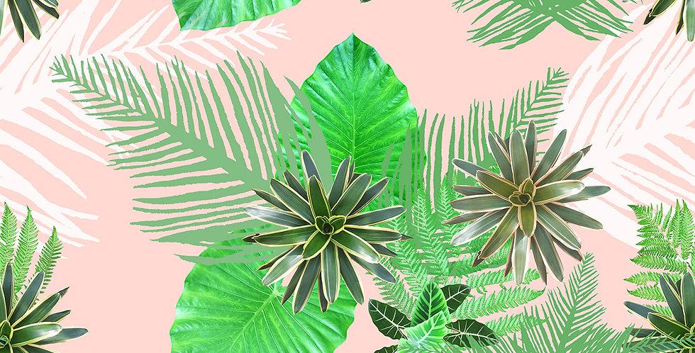 Digital Tropical Plant Velvet Fabric - Pink