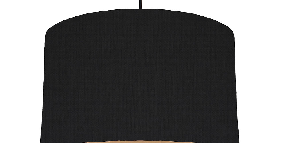 Black & Wooden Lined Lampshade - 40cm Wide