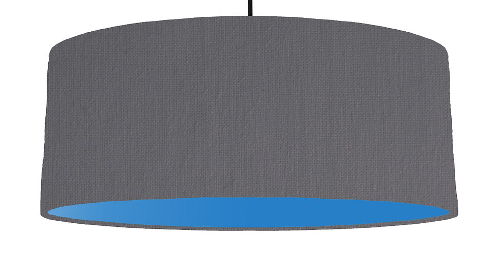 Dark Grey & Bright Blue Lampshade - 70cm Wide