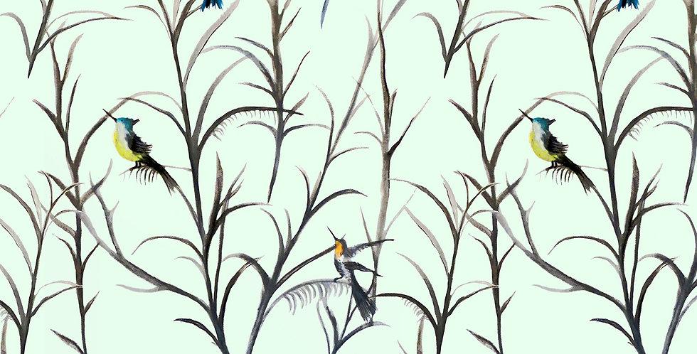 Watercolour Bird Velvet Fabric