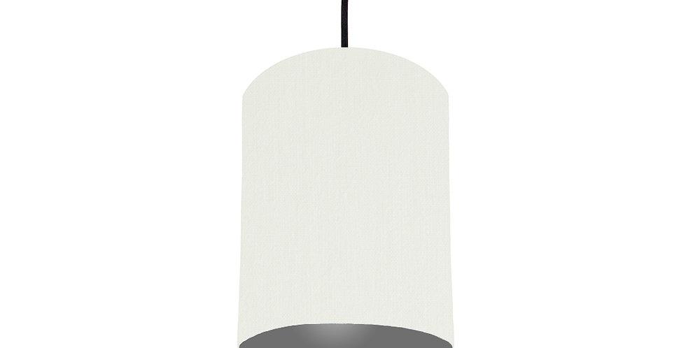 White & Dark Grey Lampshade - 15cm Wide