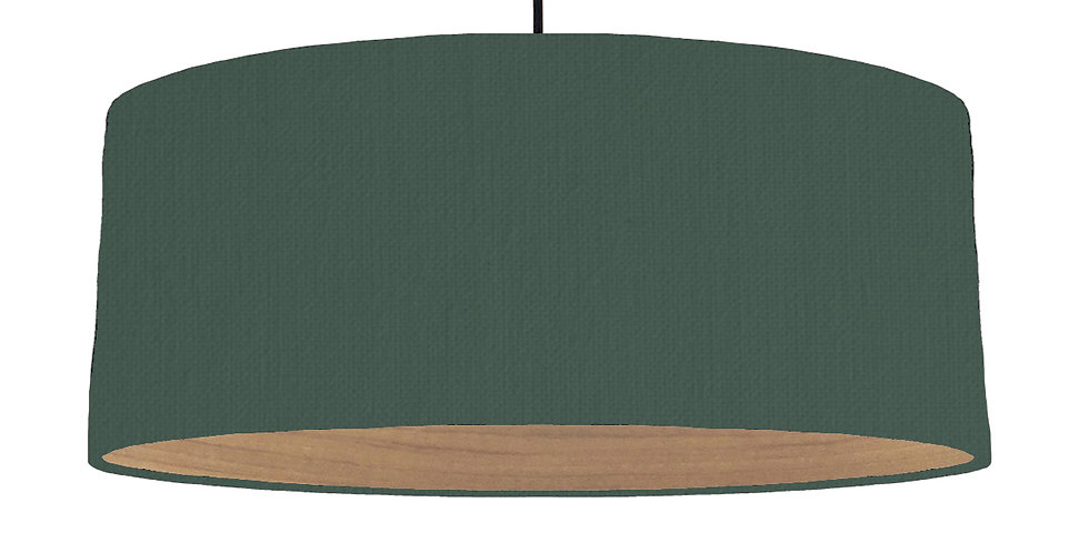 Bottle Green & Wooden Lined Lampshade - 70cm Wide