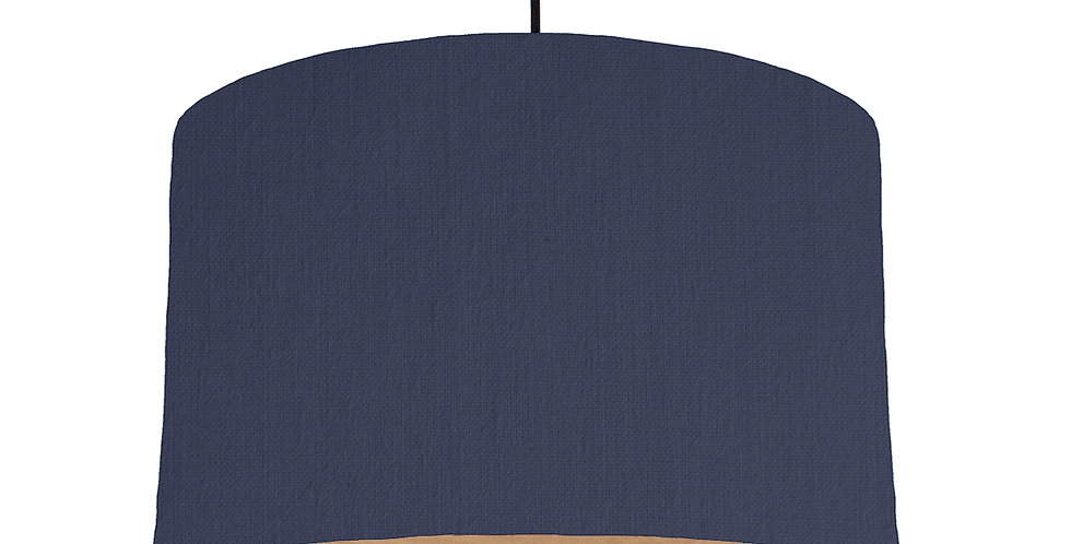 Navy & Wooden Lined Lampshade - 40cm Wide