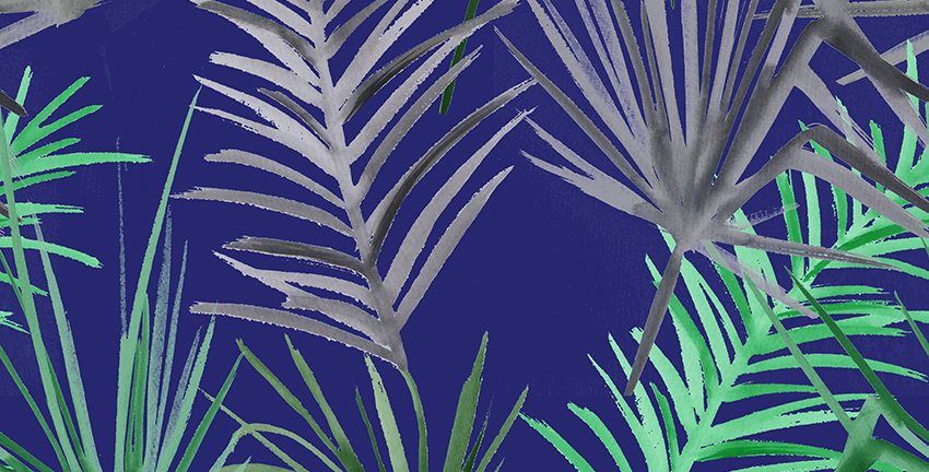Tropical Leaf Fabric - Blue