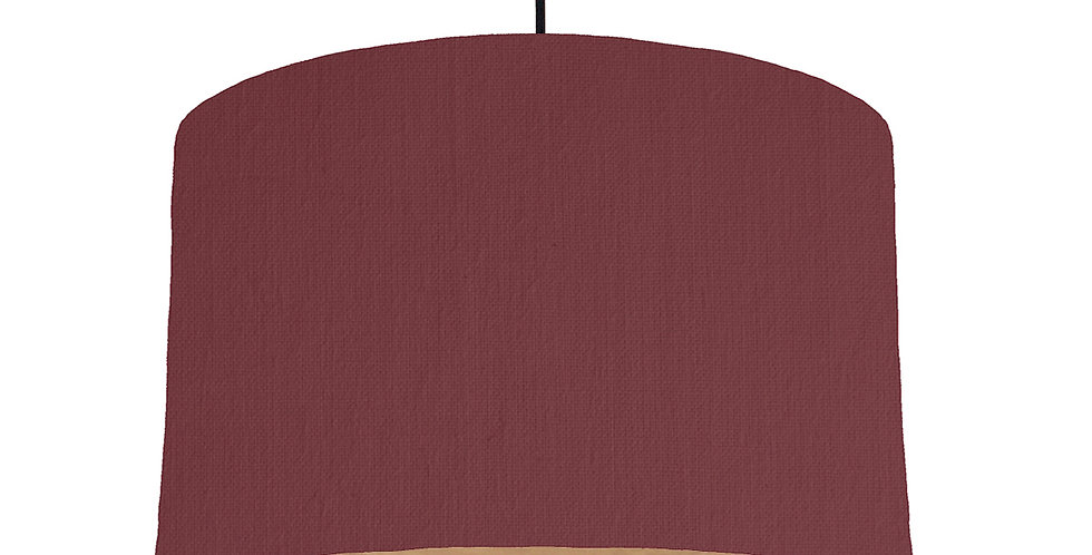 Wine Red & Wooden Lined Lampshade - 40cm Wide