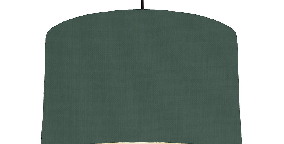 Bottle Green & Ivory Lampshade - 40cm Wide