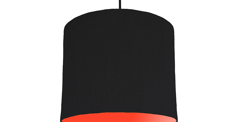 Black & Poppy Red Lampshade - 25cm Wide