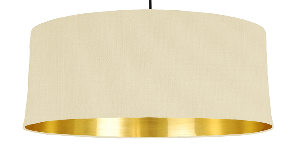 Natural & Gold Mirrored Lampshade - 70cm Wide