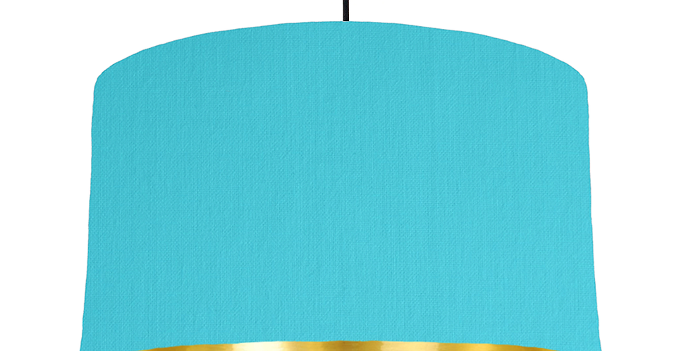 Turquoise & Gold Mirrored Lampshade - 50cm Wide