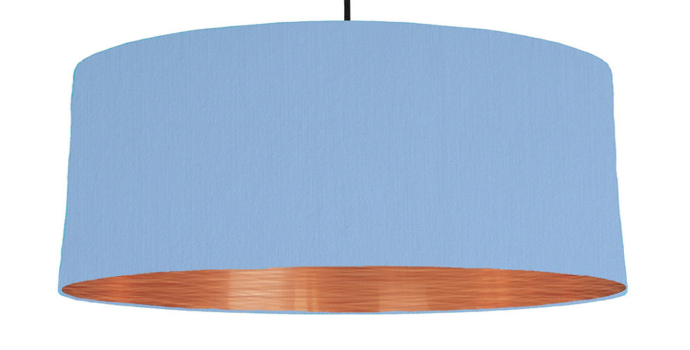 Sky Blue & Brushed Copper Lampshade - 70cm Wide