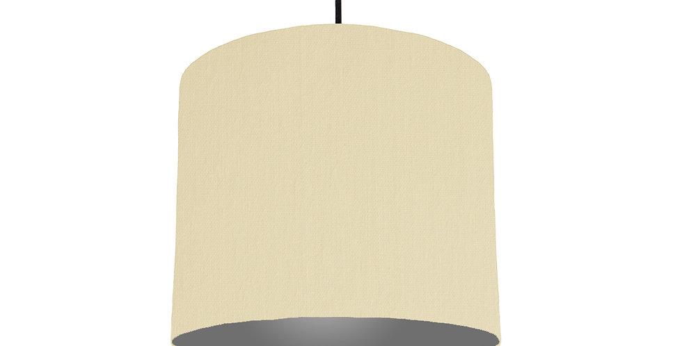 Natural & Dark Grey Lampshade - 25cm Wide