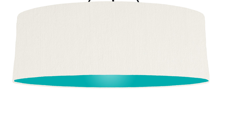 White & Turquoise Lampshade - 100cm Wide
