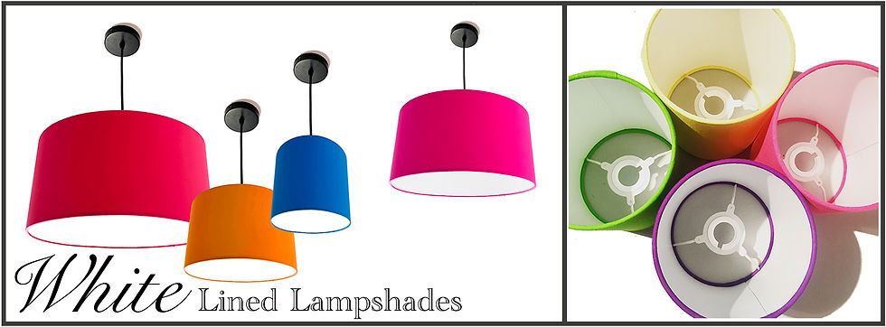 Bymarie, white lined bespoke lampshades