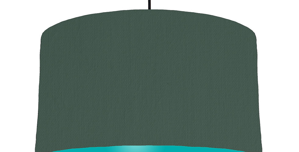 Bottle Green & Turquoise Lampshade - 50cm Wide