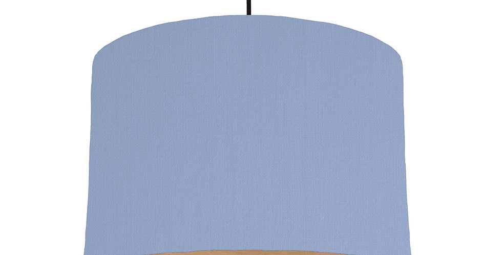 Sky Blue & Wood Lined Lampshade - 30cm Wide