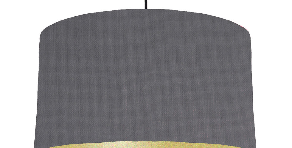 Dark Grey & Gold Matt Lampshade - 50cm Wide