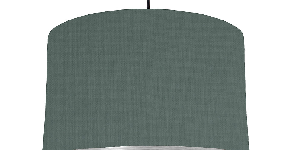 Bottle Green & Brushed Silver Lampshade - 40cm Wide